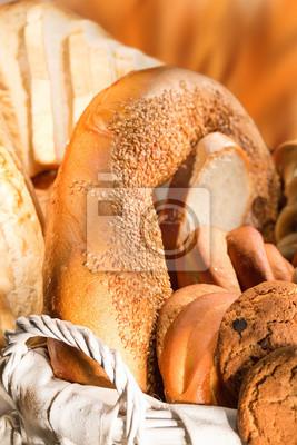 Bread  in a wicker basket