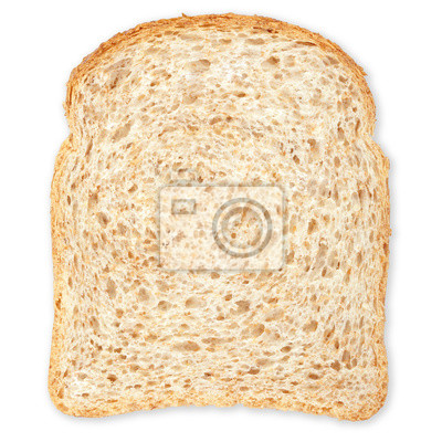 Wall mural Bread slice isolated on white, clipping path included