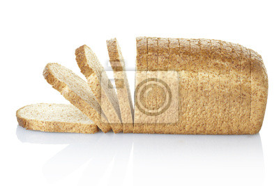 Wall mural Bread sliced with clipping path