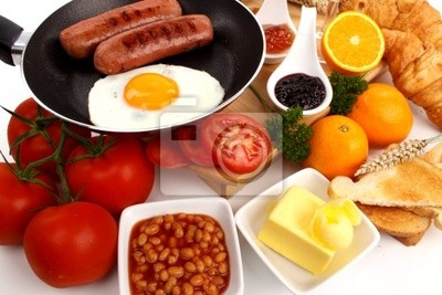 Breakfast on a white background