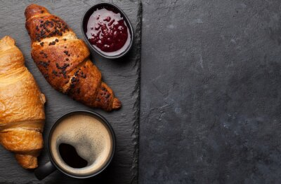 Wall mural Breakfast with coffee and croissant