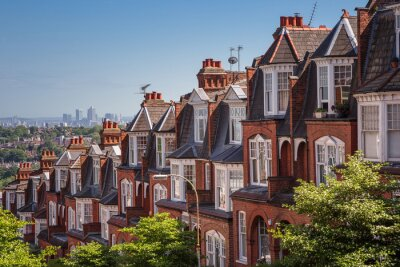 Wall mural Brick houses on a panoramic shot from Muswell Hill, London, UK