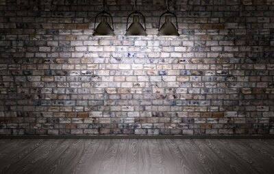 Wall mural Brick wall and lamps background