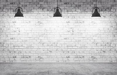 Wall mural Brick wall, concrete floor and lamps  background 3d render