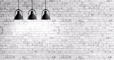 Wall mural Brick wall with lamps background
