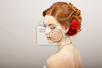 Wall mural Bride. Golden Hair Female with Red Flower. Platinum Necklace