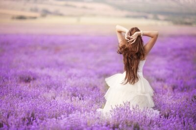 Wall mural Bride in wedding day in lavender field