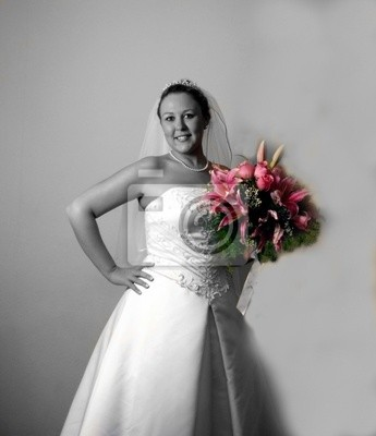 bride with colored bouquet