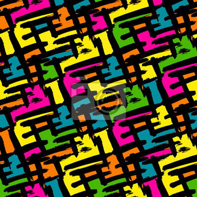 Bright abstract geometric seamless pattern in graffiti style quality illustration for your design