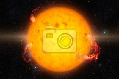 Bright and hot orange sun on a black space background. Global warming. Elements of this image furnished by NASA.