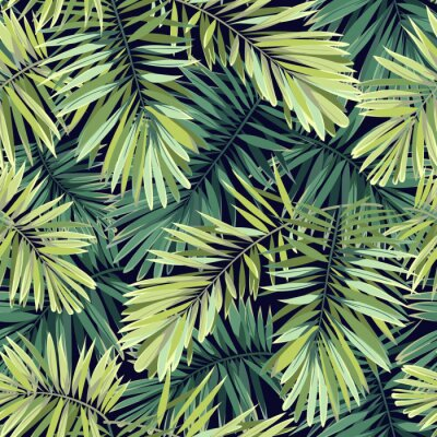 Wall mural Bright green background with tropical plants. Seamless vector exotic pattern with phoenix palm leaves.