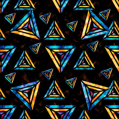 Wall mural bright psychedelic polygons on a black background abstract geometric seamless pattern