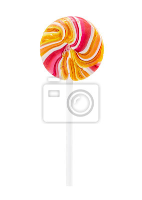 Wall mural Bright round lollipop isolated on white