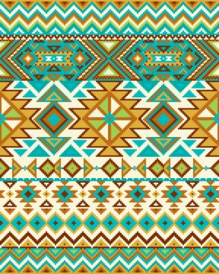 Wall mural Bright seamless background with pixel pattern in aztec geometric tribal style. Vector illustration. Pantone colors.