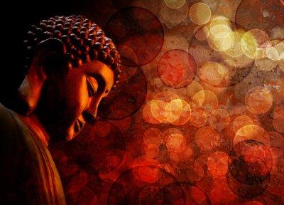 Wall mural Bronze Red Zen Buddha Statue Meditating