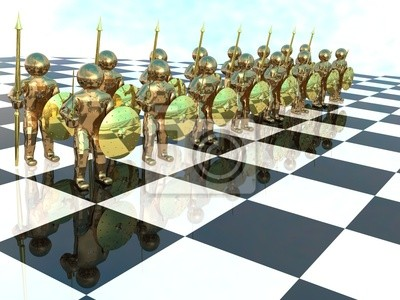 Bronze warriors on the chess-board