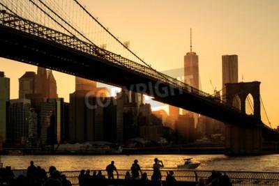 Wall mural Brooklyn bridge at sunset, New York City