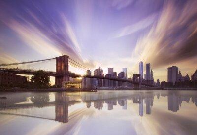 Wall mural Brooklyn bridge sunset