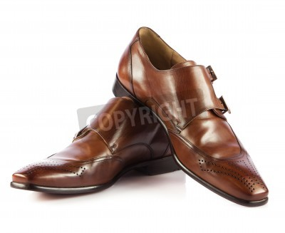Wall Mural Brown Mans Shoes Isolated On White Background Pair Of Brown