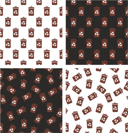 Wall mural Brown Recycling Trash Can for Biodegradable Waste Aligned & Random Seamless Pattern White Color Set