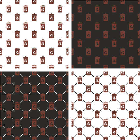 Wall mural Brown Recycling Trash Can for Biodegradable Waste Seamless Pattern Color Set