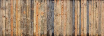 Wall mural Brown wood colored plank wall texture background