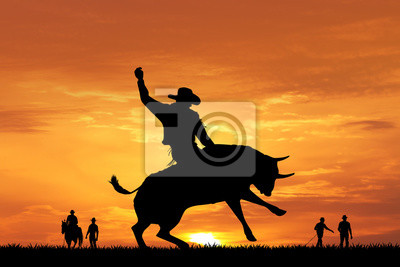 Wall mural bull rider silhouette at sunset