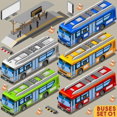 Wall mural Bus Set 01 Vehicle Isometric