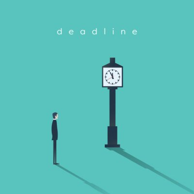 Business deadline concept vector background with a businessman and clock. Project management abstract illustration.
