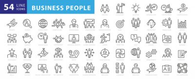 Wall mural Business people, human resources, office management - thin line web icon set. Outline icons collection. Simple vector illustration