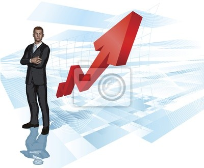 Businessman abstract arrow graph background