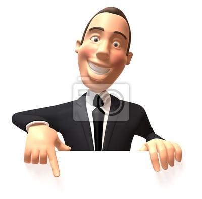 Businessman avec un panneau blanc