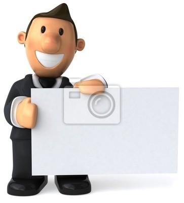 Businessman et panneau blanc