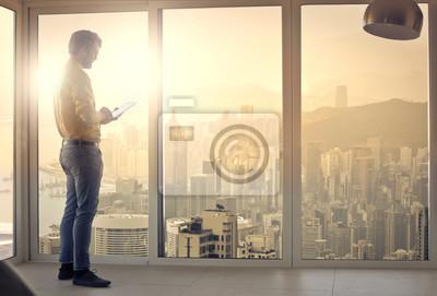 Businessman in a skyscraper