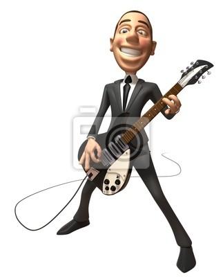 Businessman joue de la guitare
