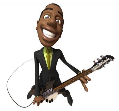 Businessman noir joue de la guitare