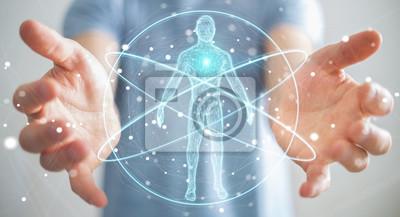 Wall mural Businessman using digital x-ray human body scan interface 3D rendering