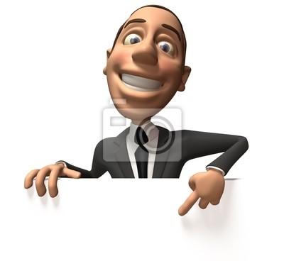 Businessman with a blank billboard