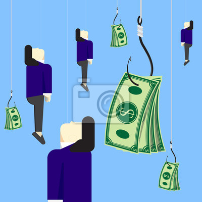 Wall mural Businessman with bait money on fishing hook vector design