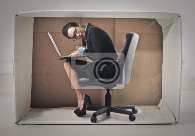 Businesswoman hiding in the box