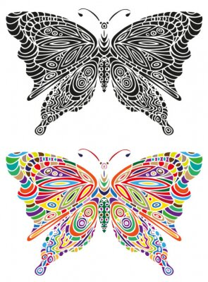 Wall mural butterfly ornament color and black