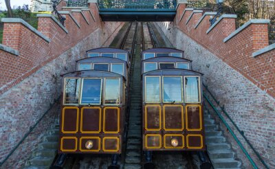 Wall mural Cable Car on the Castle Hill, Budapest city Hungary.