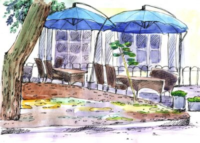 Wall mural Cafe on the street. blue umbrellas, watercolor
