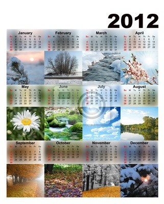 Calendar with photos seasons