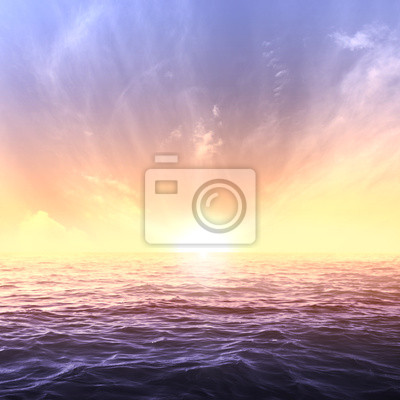 Wall mural Calm sea and sky during sundown. Bright seascape background
