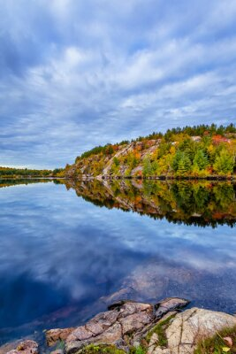 Wall mural Canada, October, Ontario, autumn, blue, cabin, cloud, color, cottege, fall, green, island, lake, landscape, leave, nature, orange, red, season, tree, water, yellow, conservation, geology, rock, earth