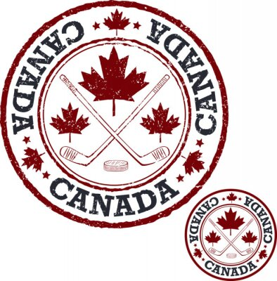 Wall mural Canadian hockey stamp.