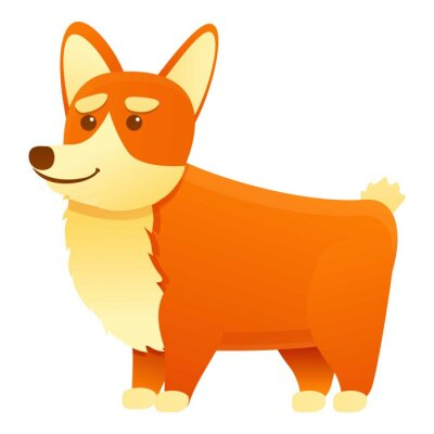 Wall mural Canine corgi dog icon. Cartoon of canine corgi dog vector icon for web design isolated on white background