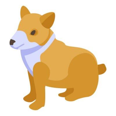 Wall mural Canine corgi dog icon. Isometric of canine corgi dog vector icon for web design isolated on white background