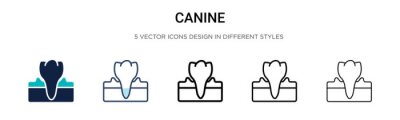 Wall mural Canine icon in filled, thin line, outline and stroke style. Vector illustration of two colored and black canine vector icons designs can be used for mobile, ui,